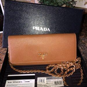 Prada Saffiano wallet on chain new condition